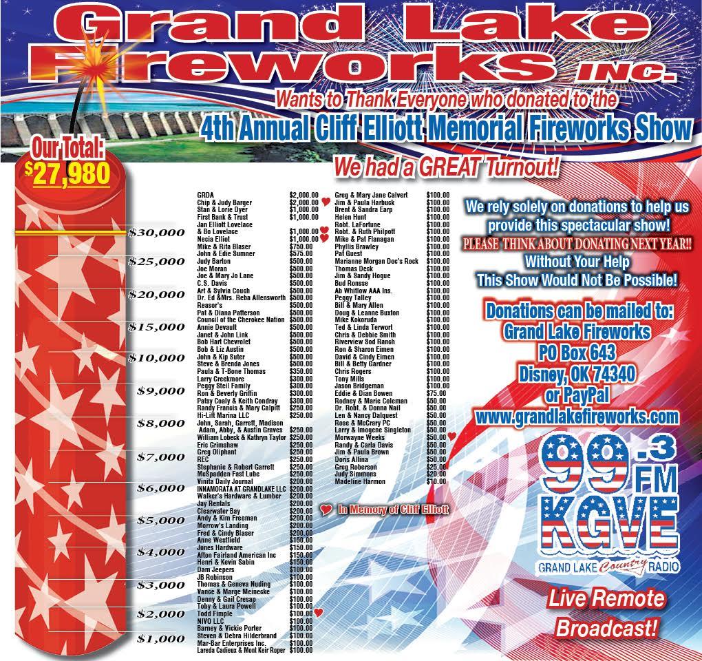 Grand Lake Fireworks 2015 Thank You